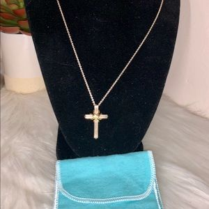 TIFFANY & CO STERLING SILVER CROSS NECKLACE